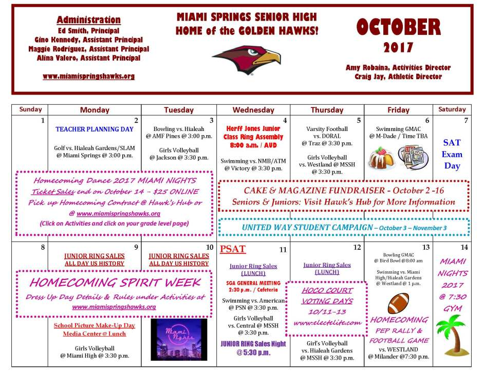 OCTOBER Activities & Athletics Calendar _Page_1