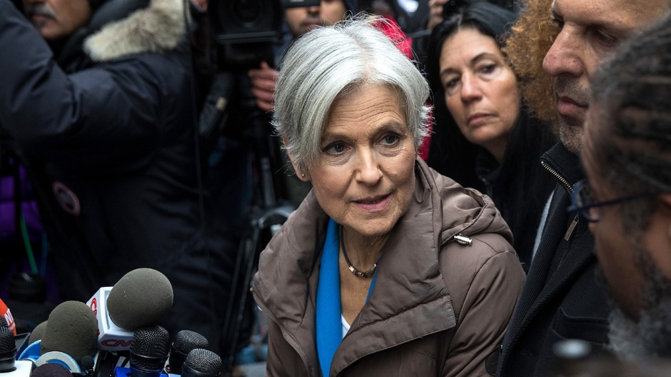 NEW YORK, NY - DECEMBER 5: Green Party presidential candidate Jill Stein speaks at a news conference on Fifth Avenue across the street from Trump Tower December 5, 2016 in New York City. Stein, who has launched recount efforts in Michigan and Wisconsin, spoke about demanding a statewide recount on constitutional grounds in Pennsylvania.  (Photo by Drew Angerer/Getty Images)